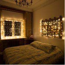 """Гирлянда """"Светодиодный Дождь"""" 1,5х1м, свечение с динамикой, прозрачный провод, 220В, диоды ТЕПЛО-БЕЛЫЕ"""