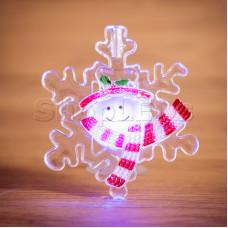 "Фигура светодиодная на присоске ""Снежинка со снеговиком"", RGB"