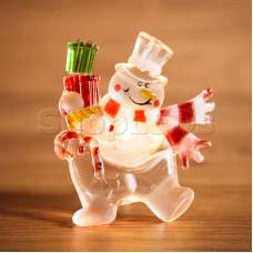 """Фигура светодиодная на присоске """"Снеговик с подарком"""", RGB"""