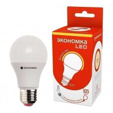 Лампа светодиодная А60 11Вт грушевидная 3000К тепл. бел. E27 850лм 220-240В ЭКОНОМКА Eco_LED11wA60E2730
